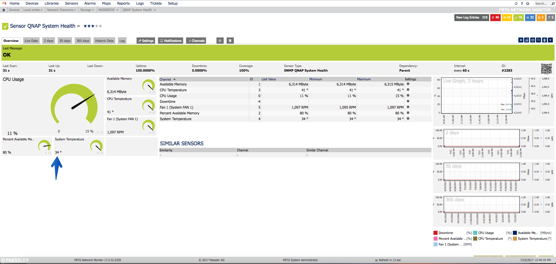 PRTG: How to monitor the status, disks, free space and much