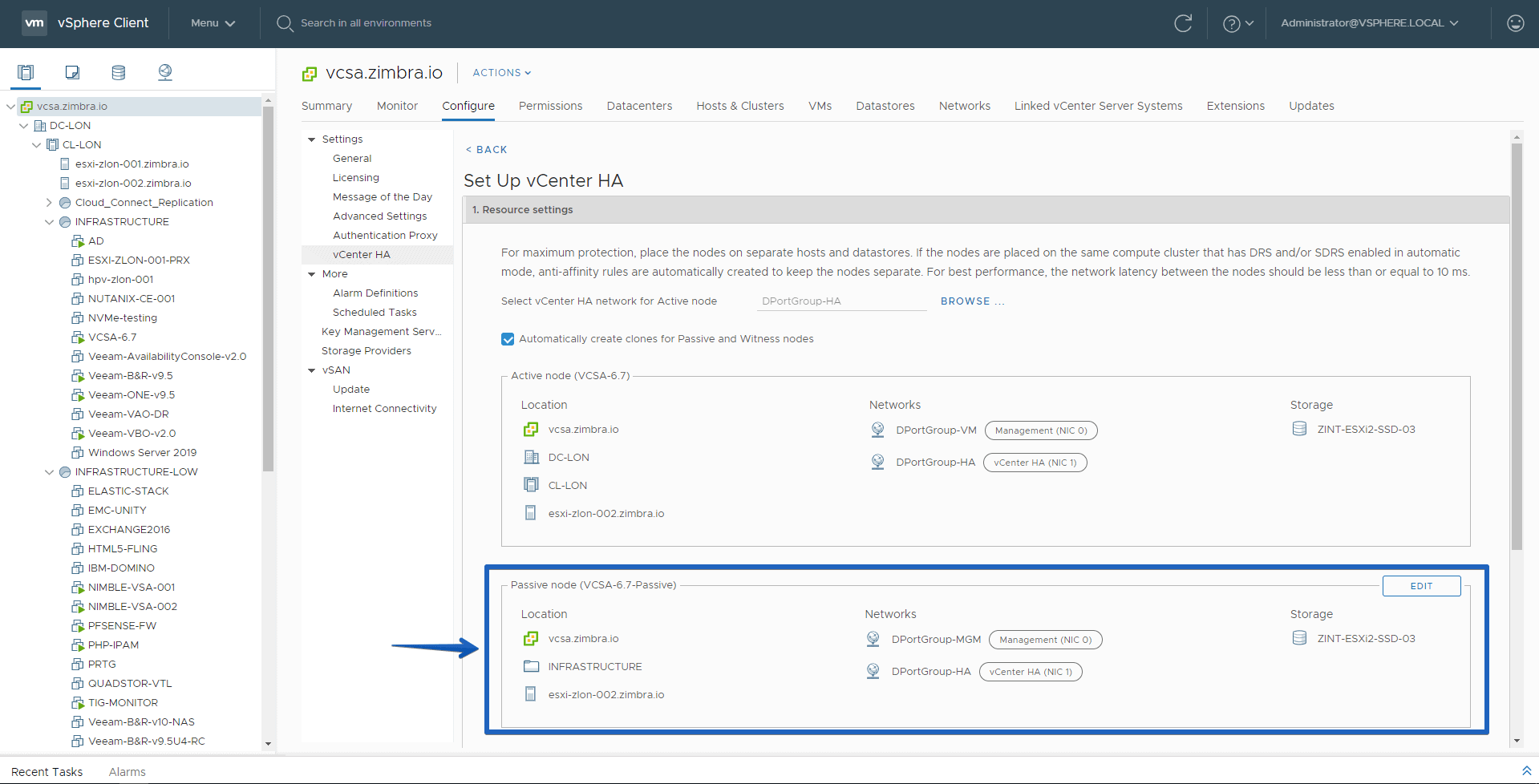 VMware: How to configure VCSA 6 7 HA in vSphere Client HTML5, the