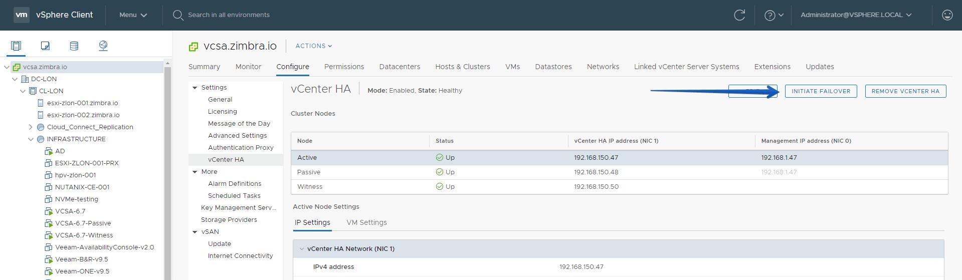 VMware: How to configure VCSA 6 7 HA in vSphere Client HTML5