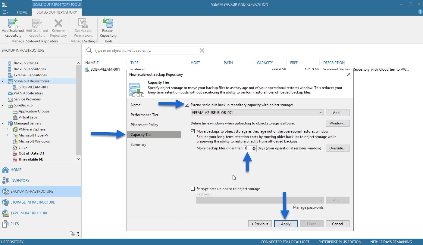 Veeam: Cloud Tier/Capacity Tier in Microsoft Azure Blob